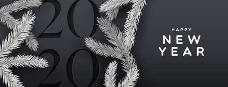 Happy new year 2020 web banner illustration of elegant black background with paper cut calendar number and 3d pine tree decoration.