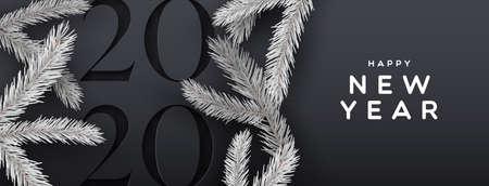 Gelukkig nieuwjaar 2020 webbanner illustratie van elegante zwarte achtergrond met papier gesneden kalendernummer en 3d dennenboom decoratie.