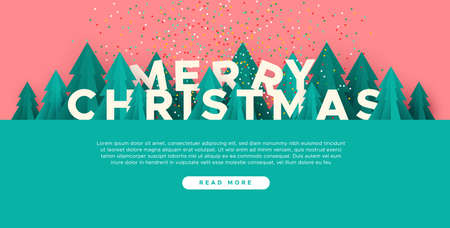 Merry Christmas web template illustration with 3d paper cut pine tree and festive confetti. Cute winter season forest landscape for landing page or online event. 일러스트