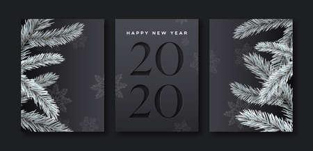 Feliz año nuevo 2020 conjunto de tarjetas de felicitación de elegante fondo negro con número de calendario de corte de papel y decoración de árbol de pino 3d.