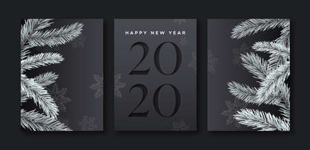 Happy new year 2020 greeting card set of elegant black background with paper cut calendar number and 3d pine tree decoration.