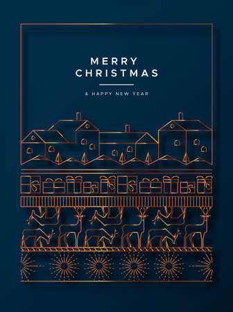 Merry Christmas Happy New Year greeting card illustration of luxury red copper decoration in modern art deco style. Festive holiday design includes winter city, reindeer and gift box. Ilustração