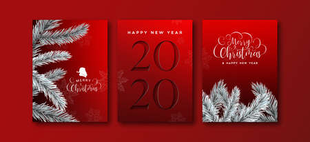 Gelukkig nieuwjaar 2020 wenskaart set elegante zwarte achtergrond met papier gesneden nummer en 3d dennenboom decoratie. Vector Illustratie