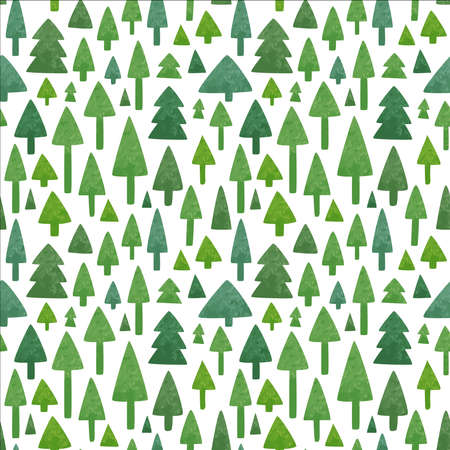 Green pine tree forest seamless pattern of hand drawn watercolor icons for eco friendly concept, Christmas season or nature care background. Illustration