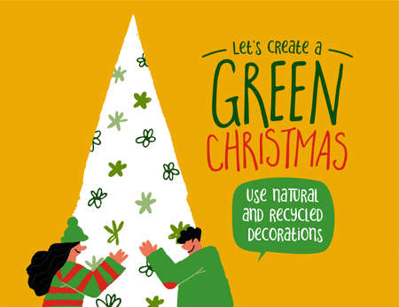 Green Christmas greeting card of man and woman in love with nature hugging pine tree with eco friendly message for recycled decoration, reduce plastic waste concept.