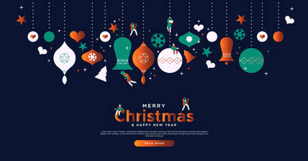 Merry Christmas landing page web design template for festive online event or winter sale. Cute cartoon small people playing on holiday bauble ornaments. Foto de archivo - 133420163