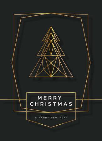 Prettige kerstdagen en gelukkig Nieuwjaar wenskaart illustratie van luxe gouden dennenboom in moderne art-decostijl. Feestelijk rood vakantieontwerp voor feestuitnodiging of fancy evenement. Vector Illustratie