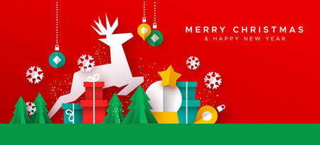 Merry Christmas Happy New Year greeting card illustration of papercut holiday decoration landscape. Festive paper craft includes gift box, reindeer, pine tree and winter snowflakes. Foto de archivo - 133420411