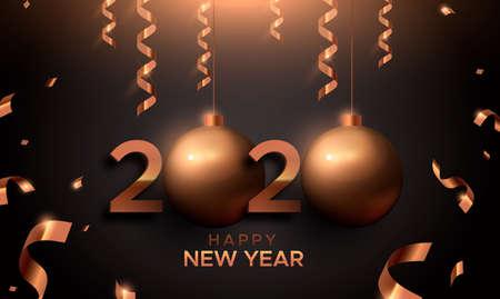 Frohes neues Jahr Karte, rotes Kupfer 2020 Christbaumkugel Ornament Zeichen. Bronzezahltypografiehintergrund für Partyeinladung oder Jahreszeitgruß.
