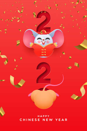 Chinese New Year 2020 greeting card of funny rat cartoon in traditional costume inside papercut calendar number with gold celebration confetti. Ilustração