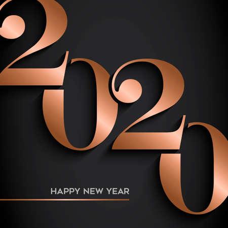 Feliz año nuevo tarjeta de felicitación de vacaciones. Diseño de número de calendario de cobre de lujo sobre fondo negro para invitación a fiesta o evento de víspera de 2020.
