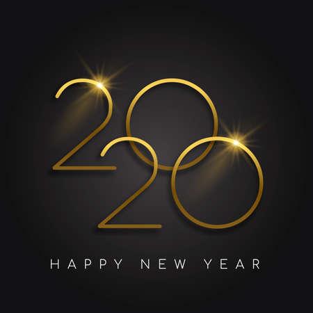 Feliz año nuevo 2020 diseño de tarjeta de felicitación de lujo de oro. Signo de número de fecha de calendario dorado moderno sobre fondo negro.
