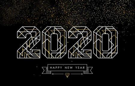 Happy New Year Grußkartendesign im Art-Deco-Umrissstil, gold-weißes 2020-Schild mit Hipster-Label. Ideal für Poster, Urlaubskampagne oder Web. Vektorgrafik