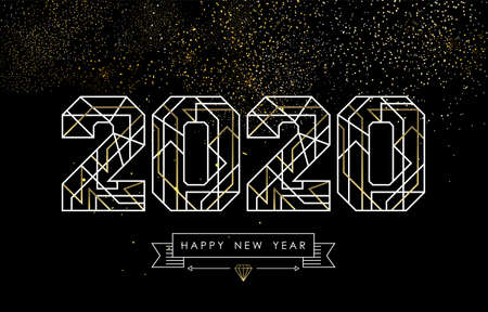 Projekt kartki z życzeniami szczęśliwego nowego roku w stylu art deco, złoty i biały znak 2020 z etykietą hipster. Idealny na plakat, kampanię świąteczną lub sieć. Ilustracje wektorowe
