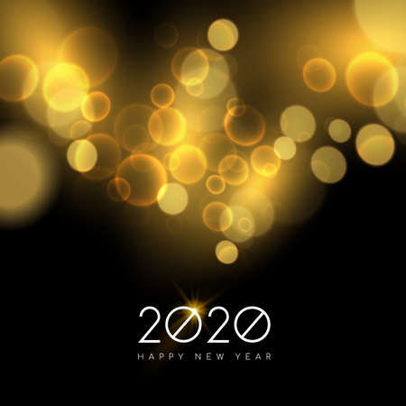 Happy new year 2020 holiday party or firework lights on night sky background. Ideal for poster, greeting card or web.