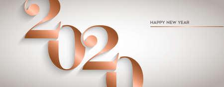 Feliz año nuevo tarjeta de felicitación de vacaciones. Diseño de número de calendario de cobre de lujo para invitación a fiesta o evento de víspera de 2020.