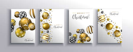 Merry Christmas greeting card set of gold 3d holiday bauble balls with luxury stars and pearls. Elegant golden ornaments in dynamic falling motion for party invitation or xmas template.