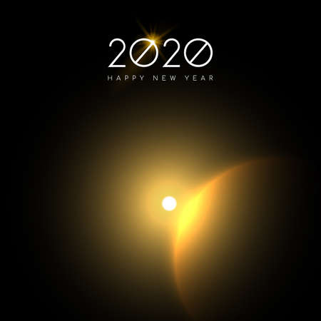 Happy New Year 2020 greeting card of gold solar eclipse on night sky background for years eve party invitation or holiday astronomy event.