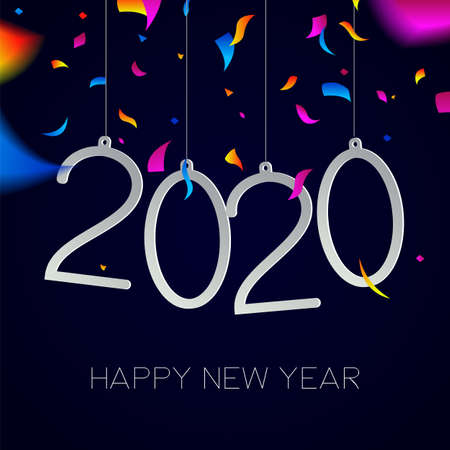 Happy New Year 2020 greeting card illustration with holiday date quote and carnival party confetti explosion.