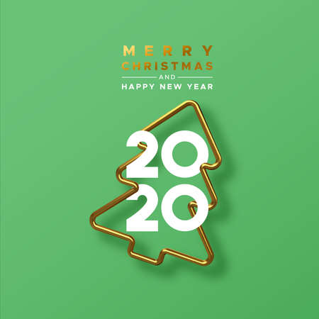 Merry Christmas Happy New Year 2020 greeting card of realistic 3d gold pine tree frame on festive green background with calendar date numbers for holiday party invitation.