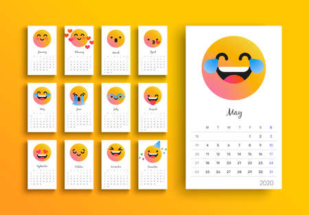 2020 calendar template, new year planner layout with funny social smiley face cartoon on isolated white background. Monthly date schedule for business week organizer, diary or print.