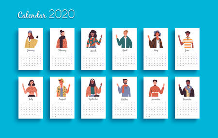 2020 calendar template, new year planner layout with diverse world people cartoon on isolated background. Monthly date schedule for business week organizer, diary or print.