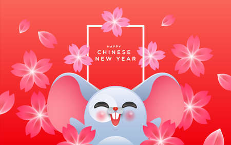 Happy Chinese New Year of the rat 2020 funny greeting card illustration. Cute mouse character cartoon with beautiful pink plum blossom flower background.