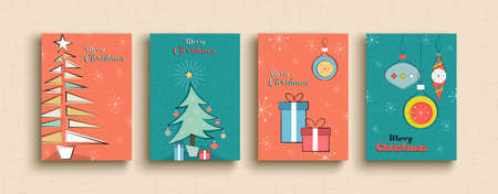Merry Christmas greeting card set of funny retro cartoon pine tree illustration templates for party invitation. Vintage mid century holiday design collection.