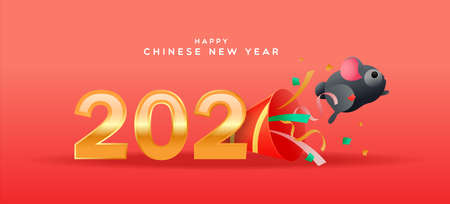 Happy Chinese New Year of the rat greeting card, cute funny mouse or hamster pet jumping from party popper in 3d cartoon style with gold 2020 calendar number date. Ilustracja