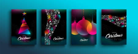 Merry Christmas Happy New Year collection of colorful holographic pine tree and multicolor bauble ornament. Rainbow color glow effect template set for party invitation or greeting card. Illusztráció
