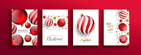Merry Christmas greeting card set of red 3d holiday bauble balls with gold stars and pearls. Elegant golden ornaments in dynamic falling motion for party invitation or xmas template.