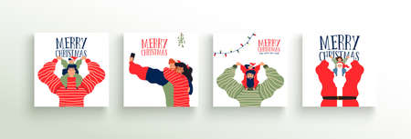 Merry Christmas greeting card set of happy family people in festive flat cartoon style. Cheerful women, children and men with santa claus character for social party invitation template.