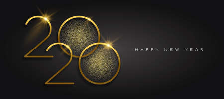 Happy New Year 2020 gold luxury greeting card design. Calendar date number sign with golden glitter dust on black background.