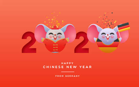 International chinese new year of the rat greeting card from germany. 2020 holiday papercut calendar date with cute german mouse animal cartoon. Culture exchange or worldwide friendship concept.
