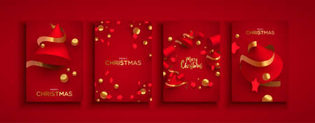 Merry Christmas Happy New Year modern greeting card set of abstract 3d red pine tree shapes with luxury gold ribbon, pearls and stars. Ilustracja