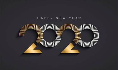 Felice anno nuovo biglietto di auguri illustrazione del moderno calendario delle vacanze astratto segno numero in elegante colore oro. Design tipografico di lusso in metallo per la vigilia del 2020.