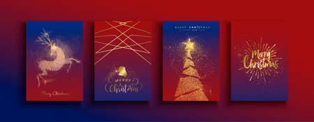 Merry Christmas Happy New Year greeting card set of gold glitter holiday designs. Reindeer and xmas pine tree templates made in luxury golden dust. Ilustracja