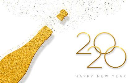 Szczęśliwego nowego roku 2020 luksusowa złota butelka szampana wykonana ze złotego brokatowego pyłu. Idealny na kartkę z życzeniami lub eleganckie zaproszenie na przyjęcie świąteczne. Ilustracje wektorowe