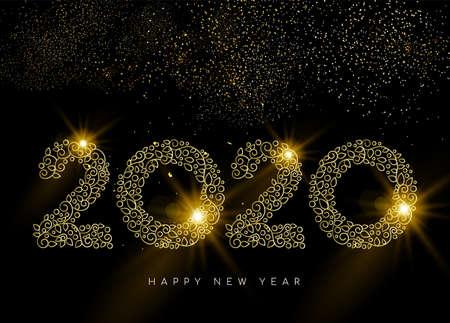 新年おめでとうのグリーティングカード。線形2020デコサインは、花火で夜空の背景に金のモノグラムの装飾スタイル。