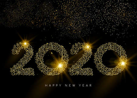 Happy New Year greeting card. Linear 2020 deco sign in gold monogram ornament style on night sky background with fireworks. Illustration