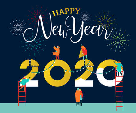 Happy New Year 2020 greeting card of young people team working together making big calendar date number sign with party fireworks. Friend group or family holiday help concept. Illustration