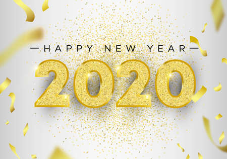Happy New Year 2020, holiday luxury greeting card illustration with number typography made of gold glitter and party confetti on white background. Ilustracja
