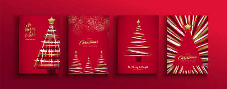 Merry Christmas and New Year luxury greeting card set with gold color xmas pine tree made of grunge hand drawn brush strokes over red holiday background. Ilustracja