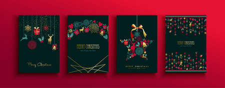 Merry Christmas Happy New Year retro greeting card set of elegant gold holiday decoration. Luxury vintage icons include reindeer, gift, and flowers. Ilustracja