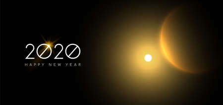Happy New Year 2020 web banner of gold solar eclipse on night sky background for years eve party invitation or holiday astronomy event.