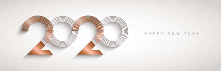 Happy New Year web banner illustration of modern abstract holiday calendar number sign in elegant gold copper color. Luxury metal typography design for 2020 years eve.