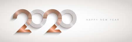 Feliz año nuevo ilustración de banner web de signo de número de calendario de vacaciones abstracto moderno en elegante color cobre dorado. Diseño de tipografía de metal de lujo para la víspera de 2020. Ilustración de vector