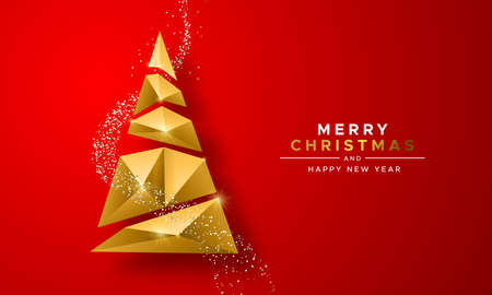 Merry christmas and happy new year gold 3d xmas tree in abstract low poly triangle style on festive red background. Ideal for greeting card or elegant holiday party invitation. Ilustracja