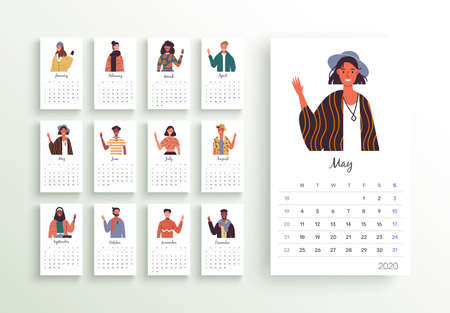 2020 calendar template, new year planner layout with diverse culture people cartoon on isolated background. Monthly date schedule for business week organizer, diary or print. Ilustracja