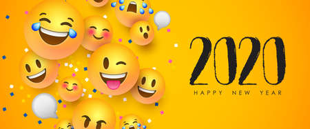 Happy New Year 2020 greeting card of funny 3d smiley face social icons. Fun chat reaction emoticon banner for holiday party celebration. Ilustracja